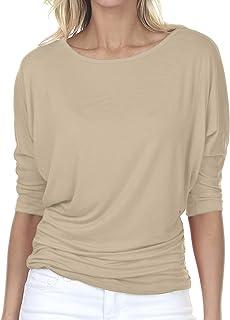 iliad USA Womens 3/4 Sleeve Side Shirring Drape Dolman Top