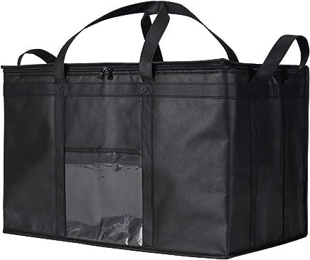 NZ Home XXXL Food Delivery Bag - Hot & Cold Insulated Soft Cooler - Ideal for Uber Eats, Instacart, Doordash, Grubhub, Postmates, Restaurant, Catering, Grocery Transport - Superb Dual Zipper - Black