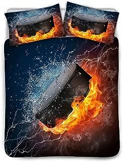 SANNOVO Twin Duvet Cover Set Ice Hockey Print 3 Piece Bedding Set with 2 Pillow Shams Super Soft Microfiber Comforter Cover,Black Lining