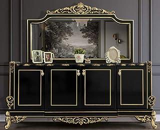 Casa Padrino Conjunto de Muebles barrocos Negro/Oro - 1 Aparador con 4 Puertas y 1 Espejo - Muebles barrocos Nobles - Nobl...