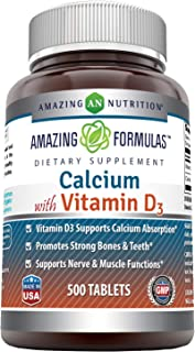 Amazing Formulas Calcium with Vitamin D3 Tablets - Supports Calcium Absorption* -Promotes Strong Bones & Teeth* -Supports ...