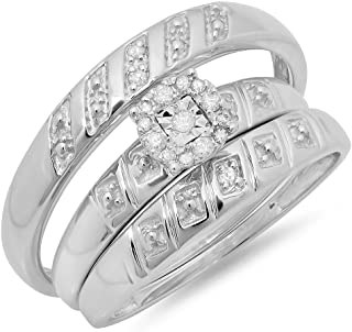 0.10 Carat (ctw) Round Diamond Men's & Women's Fashion Engagement Ring Trio Set 1/10 CT, Sterling Silver