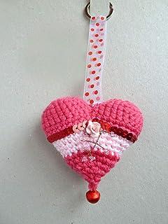 Llavero CORAZÓN Crochet-Rosa con Rosa