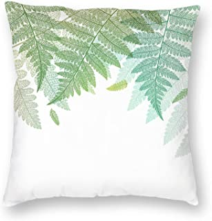 VERSUSWOLF Pillow Covers 18x18 Inch Botany Leaf Fern Leaves Green Botanical Abstract Skeleton On White Border Boho Floral ...