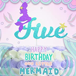 5th Mermaid Happy Birthday Cake Topper Blue Gold Glitter Under The Sea Theme Photo Décor Picks for Baby Shower And Wedding Party Five Year Old Decorations Supplies