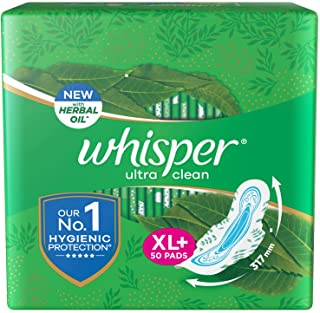 Whisper Ultra Clean Sanitary Pads For Women, X-Large +, Pack of 50 Napkins