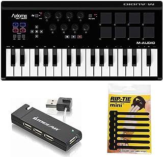 M-Audio Axiom AIR Mini 32 USB MIDI Keyboard + 4-Port USB 2.0 Hub & & Pack of CableTies