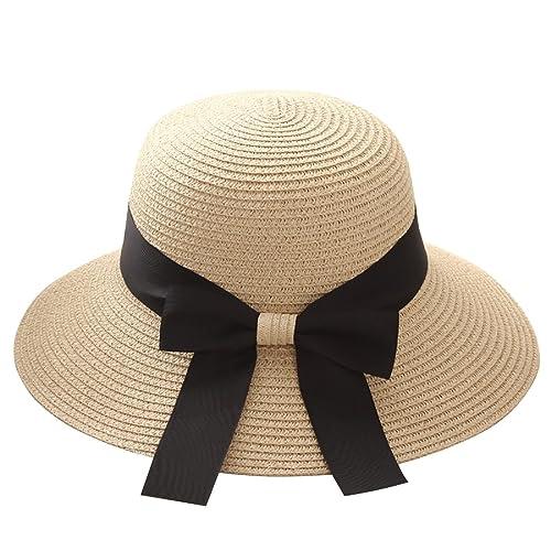 8652236973974 Womens Summer Sun Hat Floppy Wide Brim Foldable Bowknot Outdoor Beach Straw  Hat UPF50+
