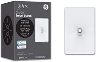 GE Lighting 93105376 Smart Toggle Style, Wi-Fi, Alexa/Google Assistant Without Hub, Single-Pole/3-Way Replacement C by GE On/Off Switch, White