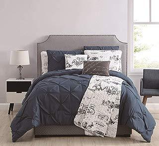 KingLinen 8 Piece Ohlala Teal/Gray Comforter and Quilt Set Queen