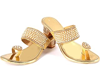 Sagar Golden Rexin Sandals Beautiful Hand Work for Girls and Women Specially Made for Marriage