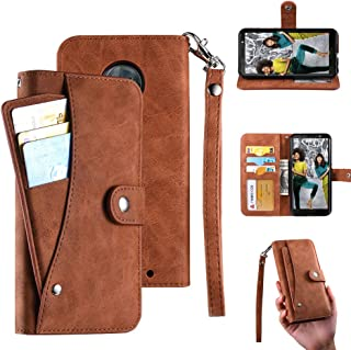 ZUMECA Moto G7 Play Wallet Case, Moto G7 Play Case, PU Flip Leather [6 Cards Slot ] Removable Card Holder Phone Cases, ID Credit Card Cash Pocket Cover with Wrist Strap for Moto G7 Play 5.7