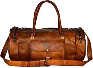 🔥 Sale! Handmade Pure Leather Duffel Travel Gym Overnight Weekend Leather Bag Classic Round Eco-Friendly Bag | Duffel Hand Luggage | with Free Shipping | Stock Limited