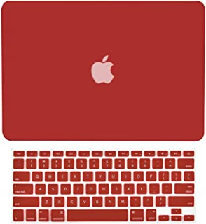 """TOP CASE - 2 in 1 Signature Bundle Rubberized Hard Case and Keyboard Cover Compatible MacBook Pro 13.3"""" with Retina Display (Old Gen. 2012-2015) Model: A1425 and A1502 - Wine Red"""