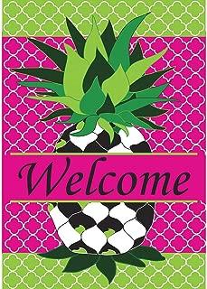 Whimsy Quatrefoil Pineapple Friendship 18 x 13 Rectangular Double Applique Small Garden Flag