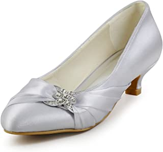 Women Closed Toe Comfort Heel Rhinestone Satin Wedding...