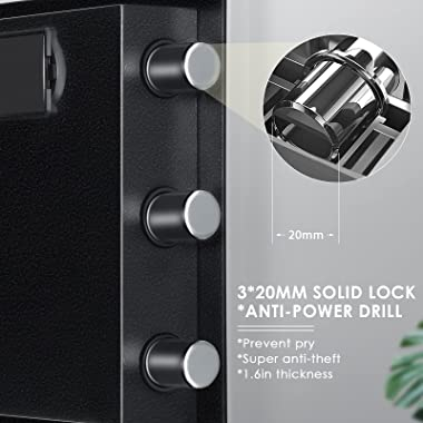 Kacsoo 1.2 Cub Fireproof Safe Box, Digital Cabinet Security Box Combination Lock Safe with Keypad LED Indicator, for Pistol C