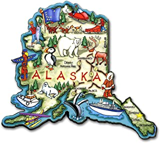 Alaska the Last Frontier State Artwood Jumbo Fridge Magnet