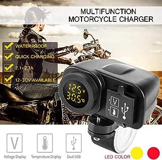 Ugthe 12-30V LED 12-30V Motorcycle Car Multi-Function Usb Fast Charger/Temperature Meter/Voltmeter Test Function