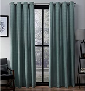 Exclusive Home Curtains Virenze Faux Silk Window Curtain Panel Pair with Grommet Top, 54x84, Marine, 2 Piece