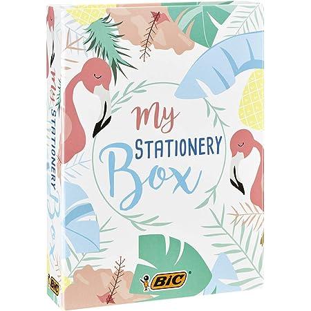 BIC My Stationery Box - 28 Strumenti Per La Scrittura, 10 Marcatori/6 Penne A Sfera/4 Evidenziatori/1 Correttore/5 Indelebili/2 Blocchi Di Foglietti Adesivi E Un Taccuino A5 - Bianco