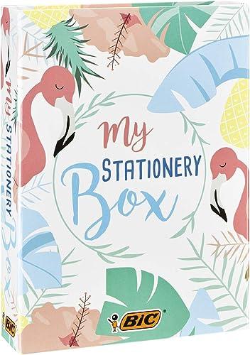 BIC My Stationery Box - 28Produits d'Ecriture, 10Feutres/6Stylos-Bille/4Surligneurs/1Ruban Correcteur/5Marqueur...