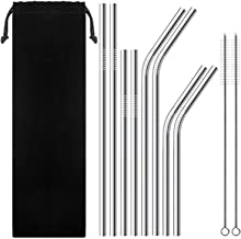 Aminery 12 Pcs Silver Straw Set Stainless Steel Straws with Cleaning Brushes