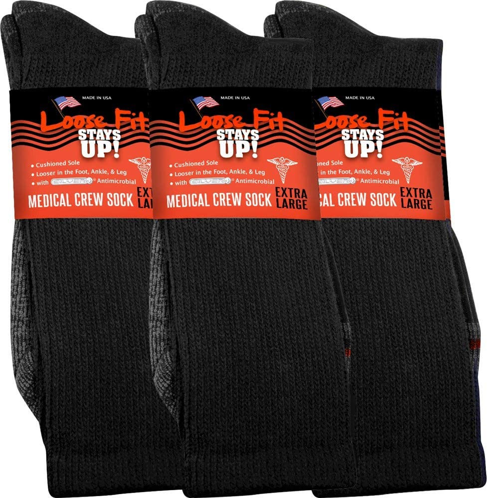Max 85% OFF Loose Fit Stays Up Men's and Women's Pack 3 Large discharge sale Socks M Medical of