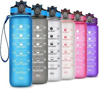 SLUXKE 1 liter / 32 oz sportvattenflaska, BPA-fri tritan dricksvattenflaskor med flip topp öppen, 1 klick återanvändbart l...