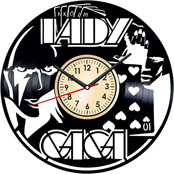 Lady GAGA Vintage Vinyl Wall Clock Poster Great Home Decor For Bedroom Kitchen Living Room Idea Birthday Christmas Anniversary For Him Her Unique Wall Art Size 12 Inches