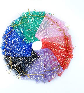 SumDirect 120 Pcs3 1/2 x 4 7/10 Inch Mixed Color Moon Stars Drawstring Organza Bags, Jewelry Gift Bags Pouches for Weddin...
