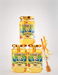 Hungary Bees 100 Percent Pure Raw Organic Wild Acacia Honey 16 Ounce- 3 Pack Includes Honey Dipper Stick