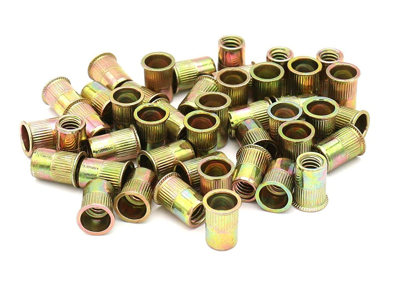Zinc Plated Carbon Steel Rivet Nut Flat Head Insert Nutsert Pack of 50 (1/2-13)