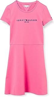 Tommy Hilfiger Essential Skater Dress S/S Robe, Rose Exotique, 80 cm Garçon
