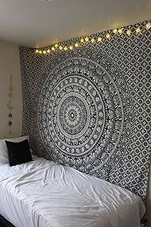 RawyalCrafts Black & White Elephant Mandala-Colcha para Colgar en la Pared, algodón, Blanco y Negro, 84x94Inches