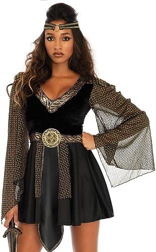 Glamour  Kriegerin Damen-Kostüm SchwarzGold von Leg Avenue GoT LARP Mittelalter, Größe S
