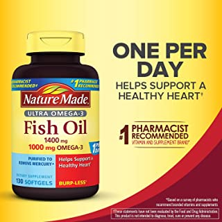 Nature Made Ultra Omega-3 Burpless Fish Oil 1400 mg Softgels w. Omega 3 1000 mg 130 Ct