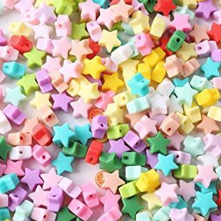 lets make Perles /étoiles en Silicone pour B/éb/é 14mm 50pc Perles /À Croquer Melange de Couleurs Accessoires Dallaitement