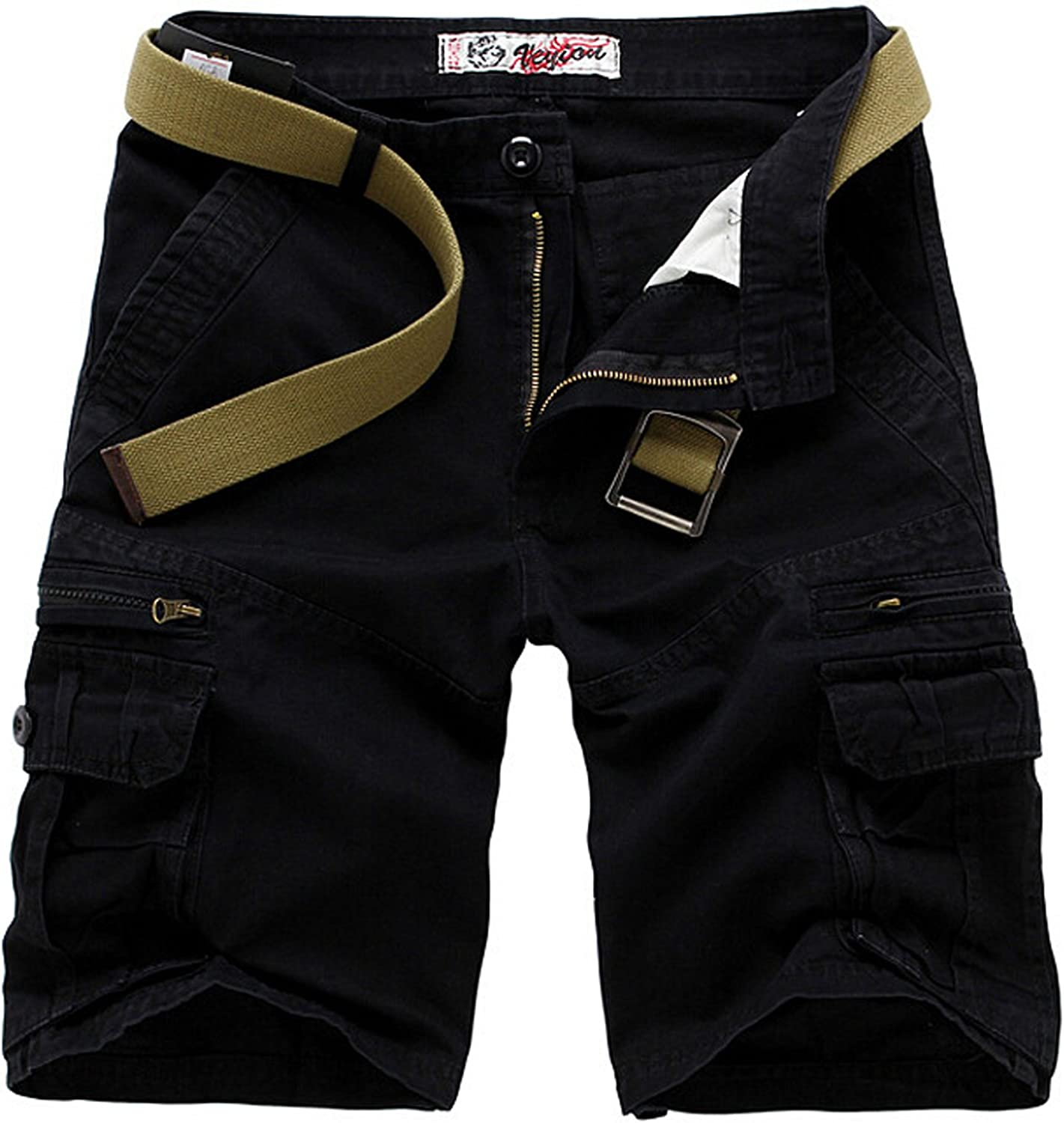 Letuwj Mens Cargo Shorts Multi-Pockets Causal Trouser Solid Color Coton