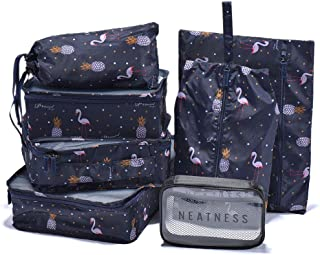 Arxus 7 Set Packing Cubes Travel Organizer Accessories with Toiletry Bag (Print Blue)