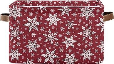Mnsruu Duży składany kosz do przechowywania z uchwytami, Boże Narodzenie biały płatek śniegu materiał składane pojemniki d...