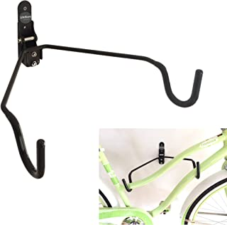 LifeStore Adjustable Bike Rack Wall Mount,100% Solid Steel Bicycle Storage Stand Hanger for Indoor, Garage, Soft Rubber-Coated Hooks, Mounting Screws Included, Heavy Duty Wall Mount Bike Stand (Black)