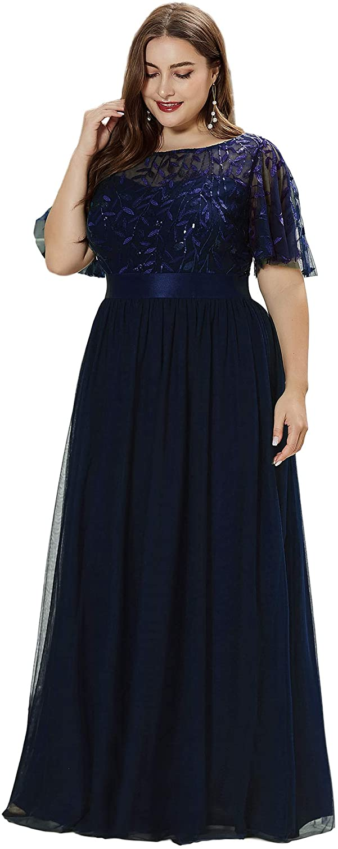 Alisapan Womens Plus Size Sequin Long Formal Evening Dresses 0904
