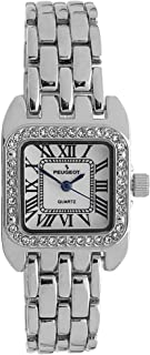Peugeot Women's Tank Shape Watch with Panther Link Bracelet, Dress Watch with Crystal Bezel and Roman Numeral Dial
