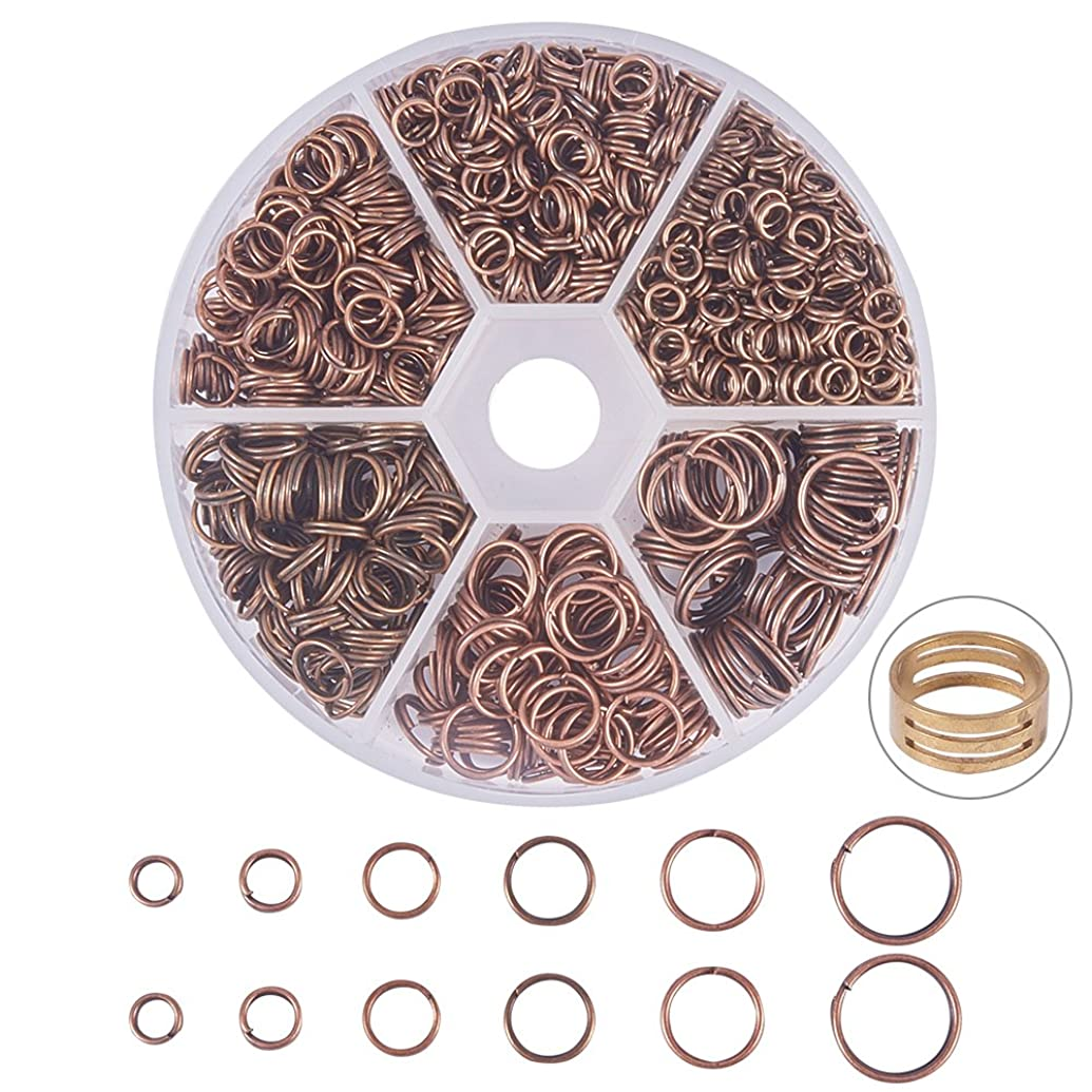 PandaHall Elite 900 Pcs 6 Sizes 4/5/6/7/8/10mm Iron Split Rings Double Loop Jump Ring for DIY Jewelry Making Red Copper