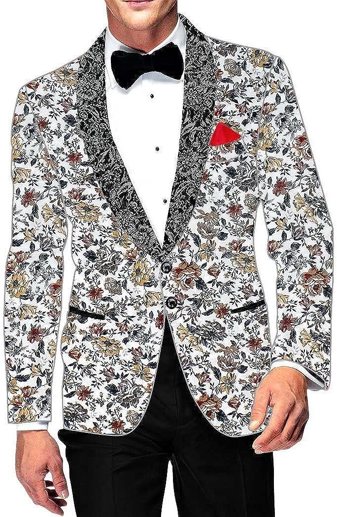 INMONARCH Mens Slim fit Casual White Cotton Blazer Sport Jacket Coat Gray Flower Printed SB17011