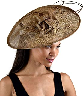 Voberry Sun Hats for Women,Fashion Women Wedding Penny Mesh Hat Fascinator with Mesh Ribbons and Feathers