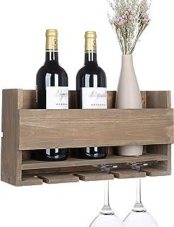 Vencipo Estantería de Vino de Pared de Madera para Organizador 4 Copas Vino Almacenaje, Estante Flotante Decoracion Para Cocina de Armarios Vino, Botelleros Vino Accesorio para Sala de Estar.