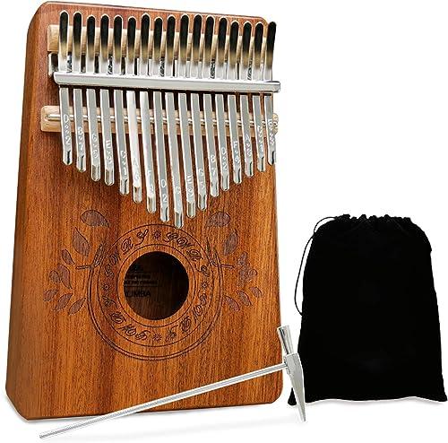 UNOKKI Mahogany Kalimba 17-Key Thumb Piano with Instruction Book and Tuning Hammer – Portable Personal Musical Instru...