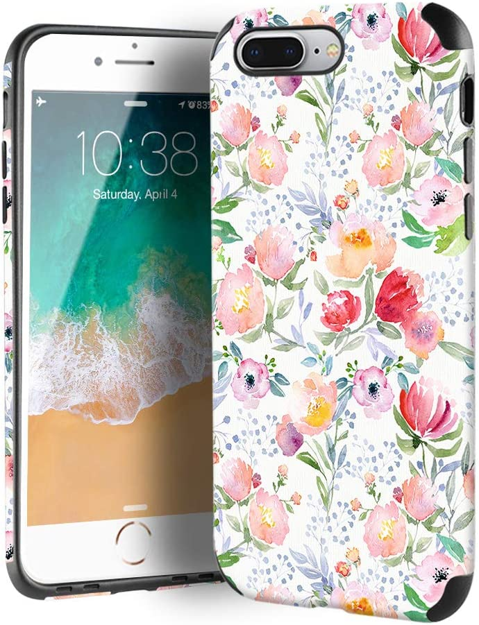 CUSTYPE iPhone 8 Plus Case, iPhone 7 Plus Case for Girls & Women, Floral Series Peony Flower Pattern Design PC Leather TPU Bumper Slim Protective Cover for iPhone 7 Plus/ 8 Plus 5.5''